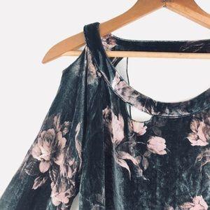 Cha Sor floral velvet cutout top, NWT